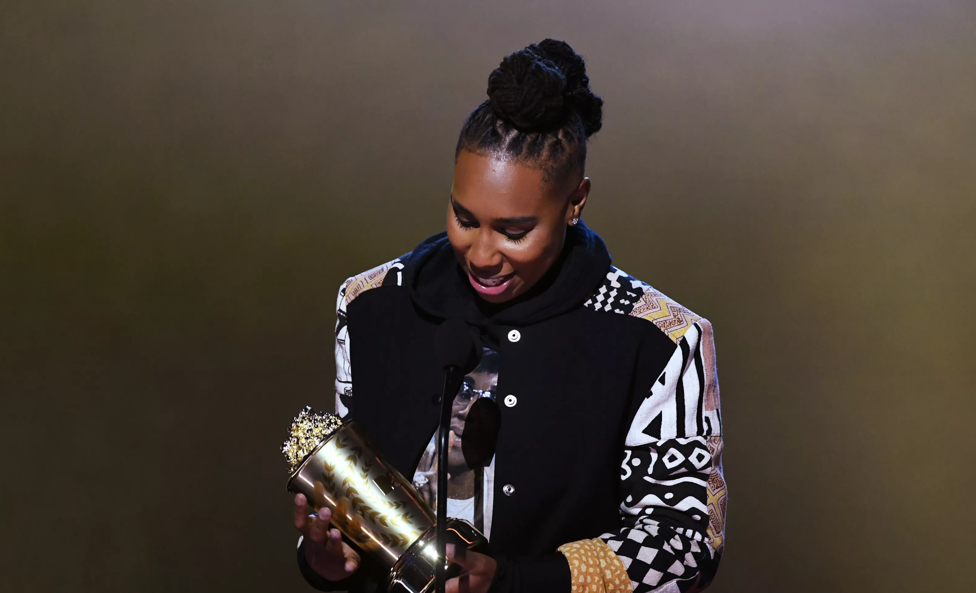 SANTA MONICA, CA – JUNE 16: Honoree Lena Waithe accepts the MTV Trailblazer Award onstage during the 2018 MTV Movie And TV Awards at Barker Hangar on June 16, 2018 in Santa Monica, California. (Photo by Kevin Winter/Getty Images for MTV)