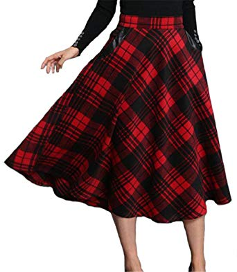 ETCYY Women's Vintage Geometric Thicken Suede Zip Up Midi Plaid Skirts