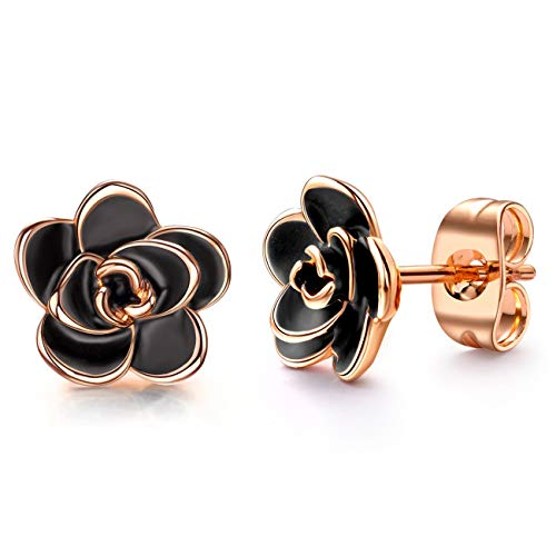 Gold Plated Black Rose Flower Stud Earrings