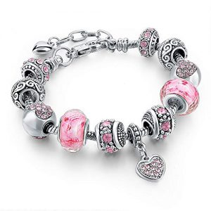 Silver Tone Chain Pink Crystal Love Heart Bead Glass Charm Bracelet