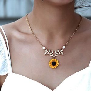Sunflower Pearl Leaf Chain Resin Boho Handmade Drop Pendant Choker Necklace By 17mile