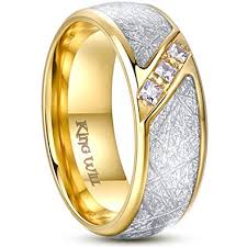 Men's Gold Titanium Steel Wedding Engagement Ring