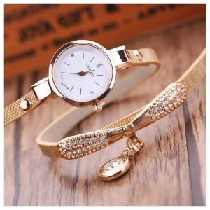 Leather Rhinestone Analog Quartz Wrist Watch