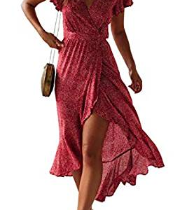Floral Printed Wrap V Neck Short Sleeve Split Beach Party Maxi Dress