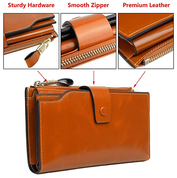 Genuine Leather Wallet byYALUXE Women's Large Capacity and Wax Clutch Multi Card Organizer