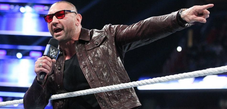 Batista speaks with the fans during his time in a WWE ring.