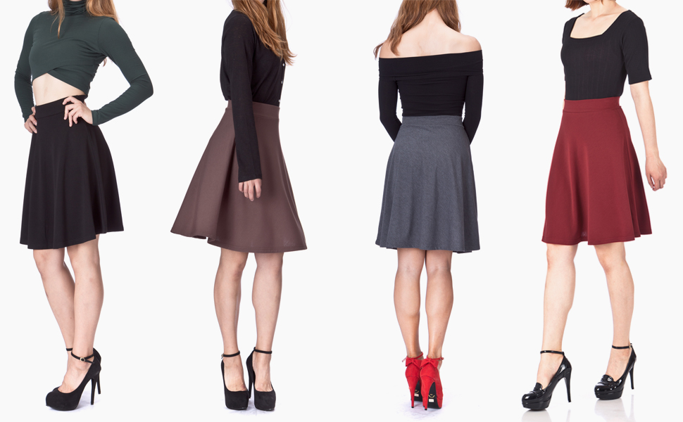 Simple Stretch A-line Flared Knee Length Skirt