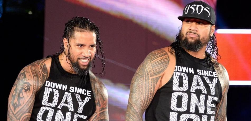 The Usos head to the ring for their next match.