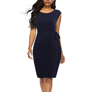 Navy Blue Cocktail Dress Cap Sleeves Sheath Office Dresses for Women