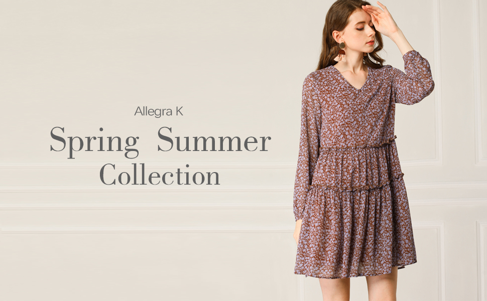 Allegra K Women's Loose V Neck Tiered Floral Shift Dress