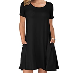 womens short sleeve dresses with pockets