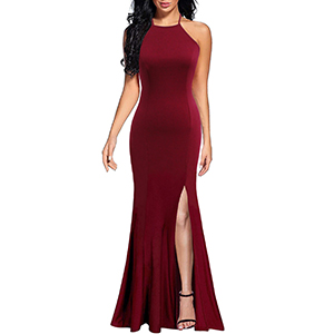 Spaghetti Straps Formal Long Prom Gown Mermaid Evening Dress with Slit