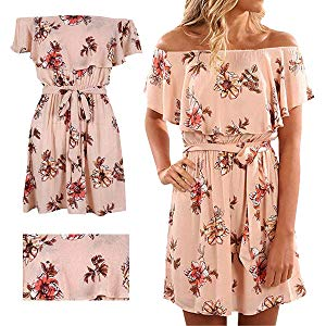 Ruffles sleeve, off the shoulder, flower /floral print ,strapless, tunic design