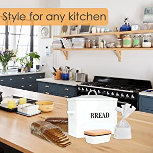 metal bread box printed enamel butter dish food storage container bin keeper kitchen counter rustic