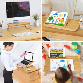 Laptop Desk able Adjustable Bamboo Foldable Breakfast Serving Bed Tray w' Tilting Top Drawer