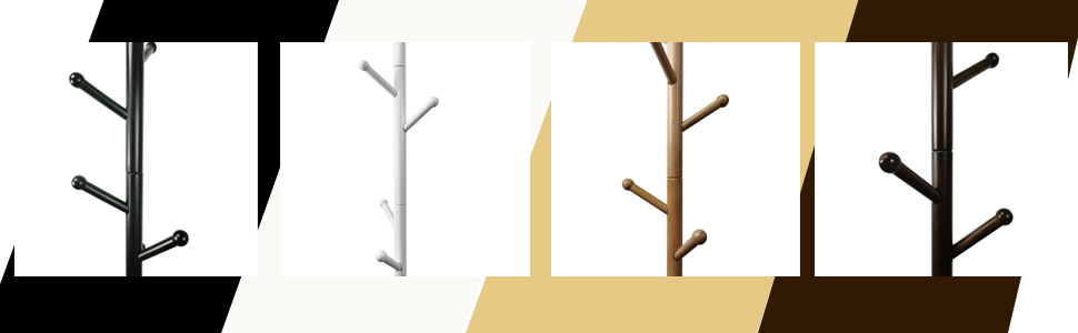 Wooden Wood Colors available for coat rack black white natural mahogany bamboo pure brown steel