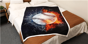 Baseball Blanket 3D Print Throw Blanket White Ball in Fire and Water Flannel Soft Plush Sport