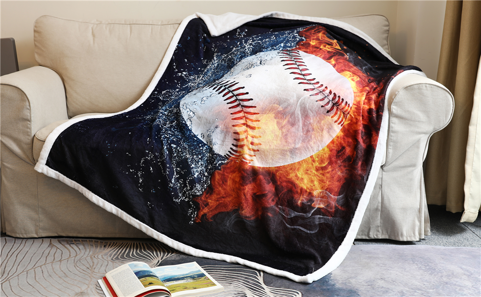 Baseball Blanket 3D Print Throw Blanket White Ball in Fire and Water Flannel Soft Plush