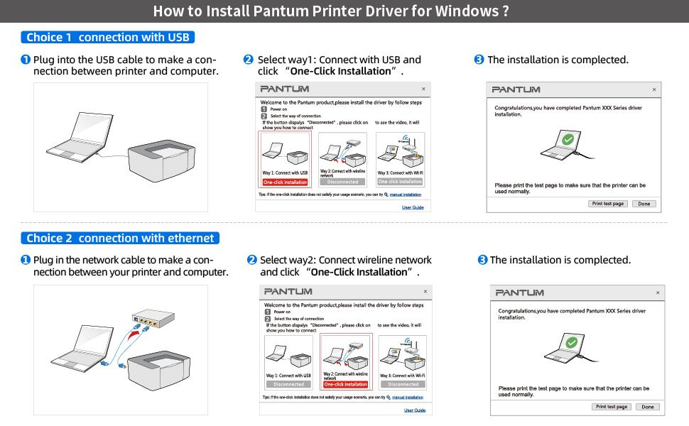 Black and White Laser Printer with Auto Two-Sided Driver Installation